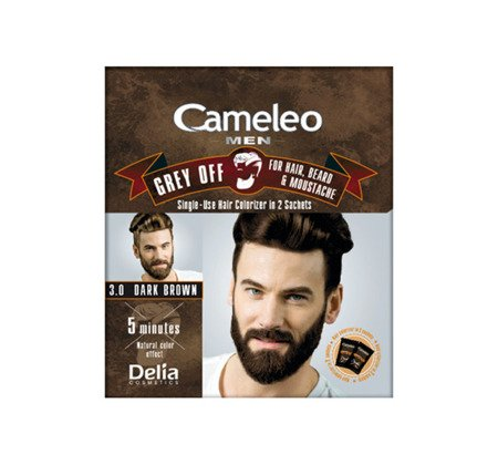 DELIA Cameleo Men farba do włosów, wąsów i brody w saszetce 3,0 Dark Brown 2x15ml